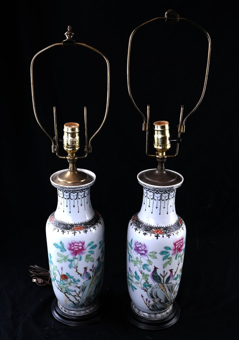 Pair of Porcelain Rose Famille Lamps