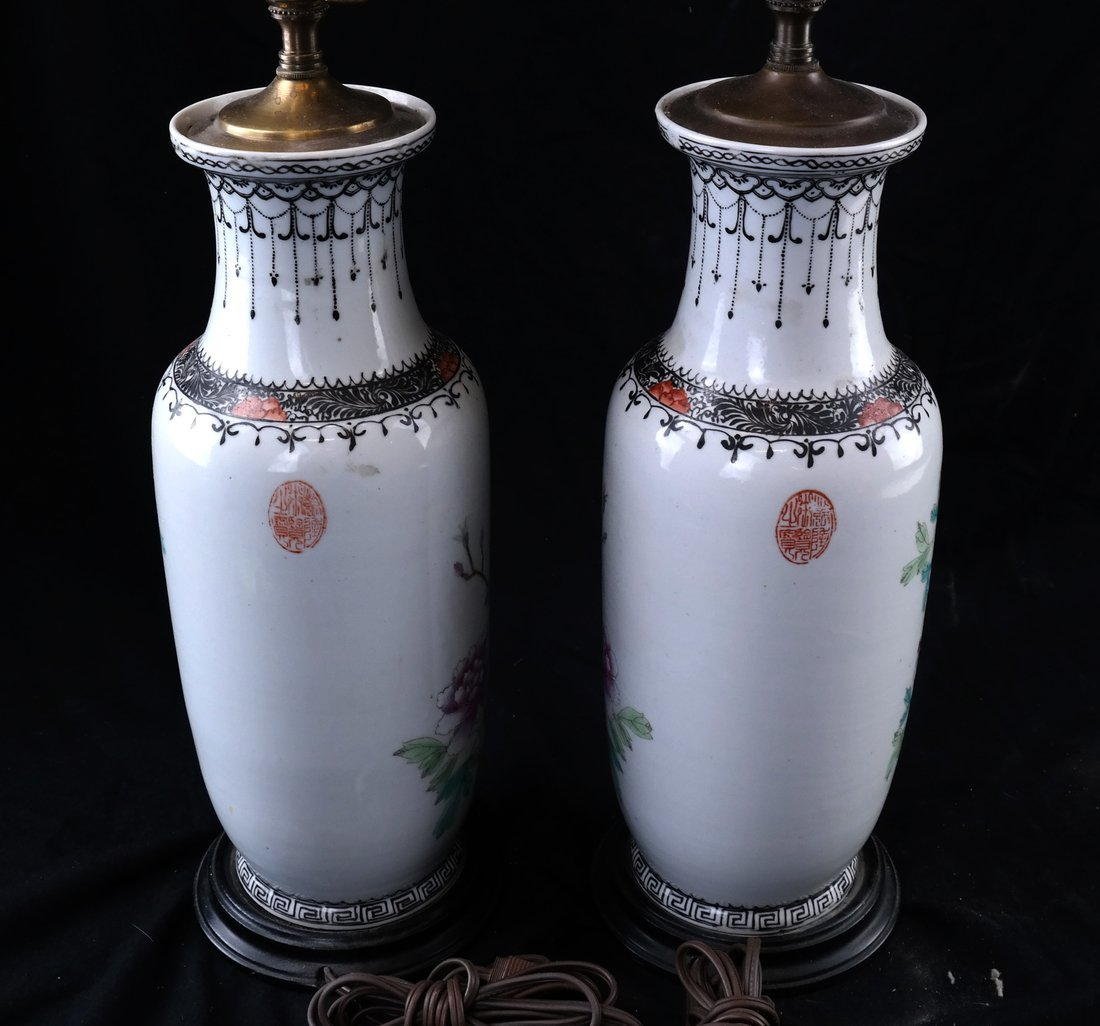 Pair of Porcelain Rose Famille Lamps - 5