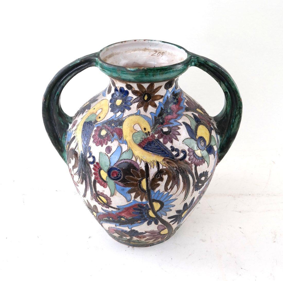 2-Handled Pottery Glazed Urn
