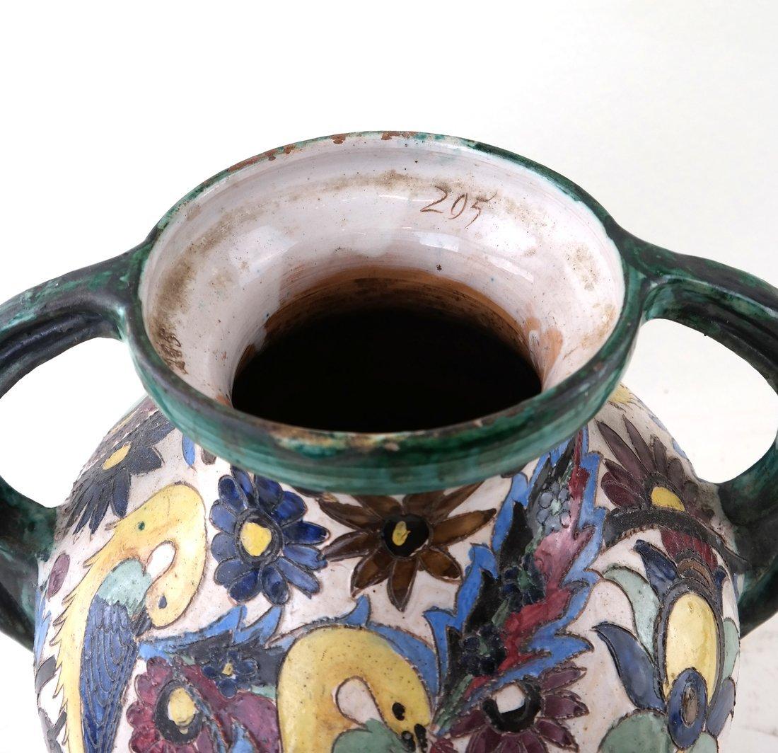 2-Handled Pottery Glazed Urn - 2