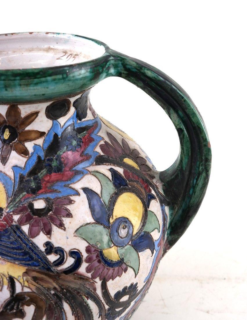 2-Handled Pottery Glazed Urn - 3