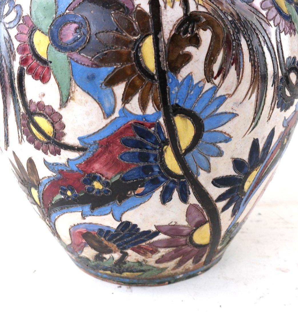 2-Handled Pottery Glazed Urn - 4
