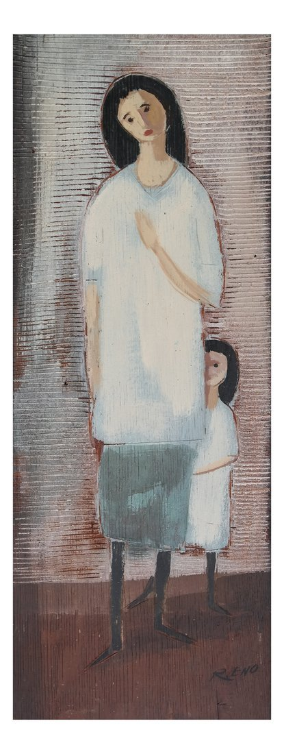 R. Eno, Mother and Child- Mixed Media