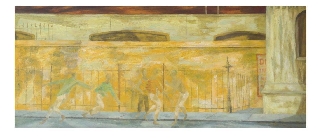 Dancing Figures, Oil on Board