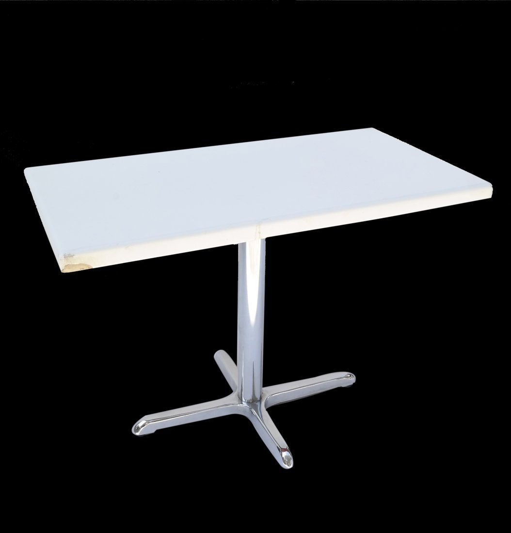 Modern Chrome and White Plastic Table