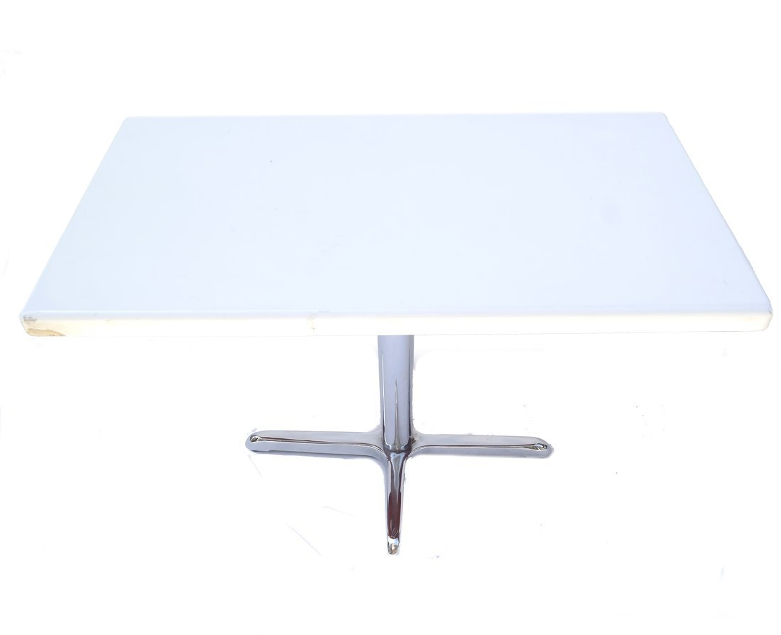 Modern Chrome and White Plastic Table - 3