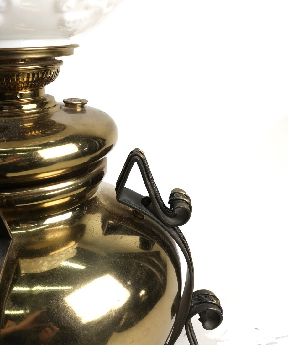 Victorian Brass Table Light With Shade - 3