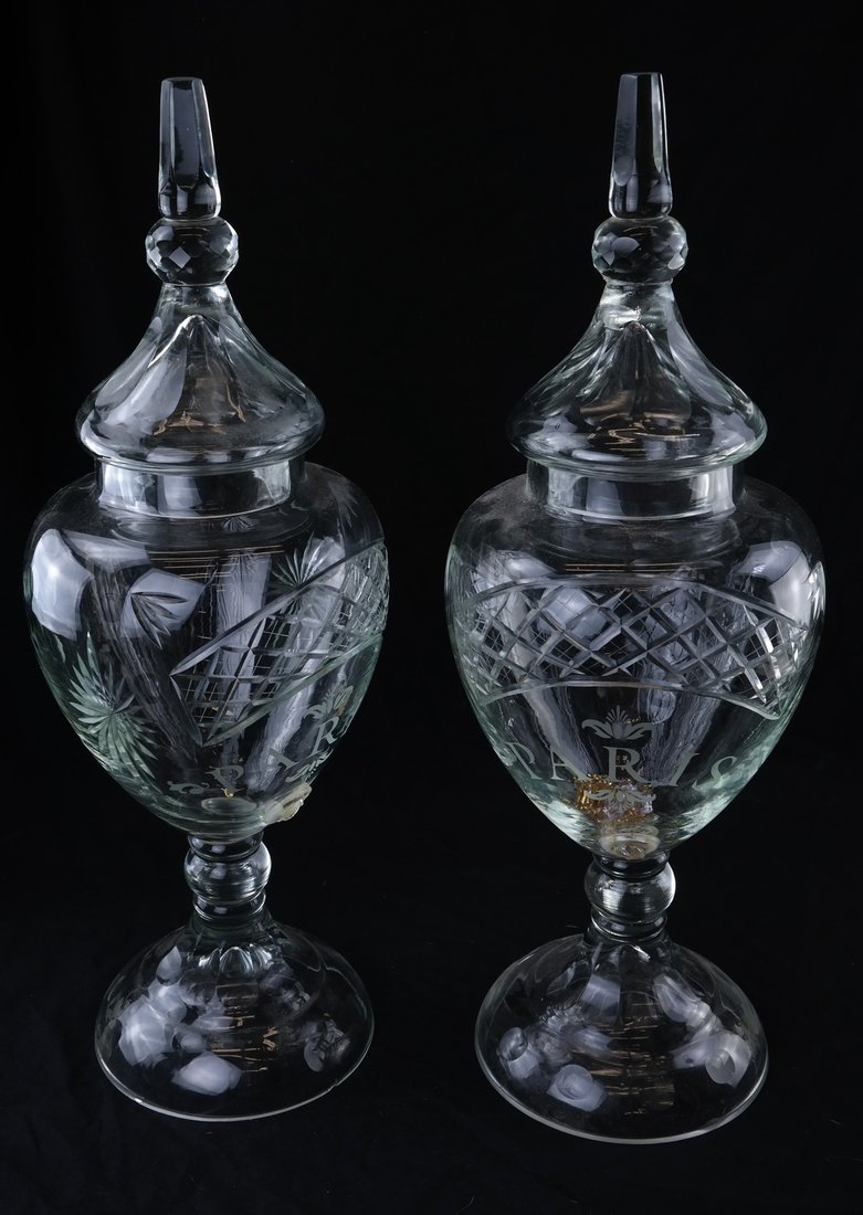 Pair of Large Glass Urns