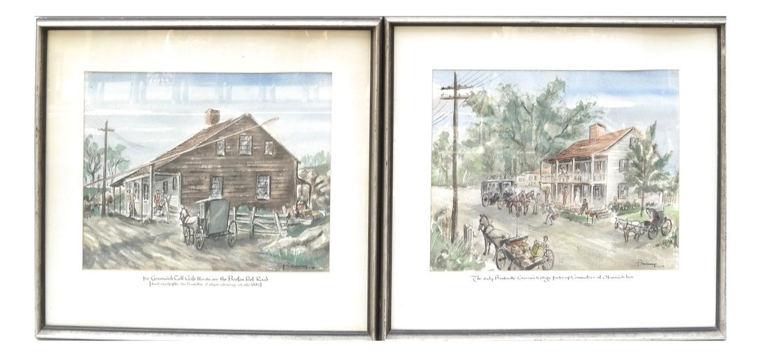 Two Watercolors of New York