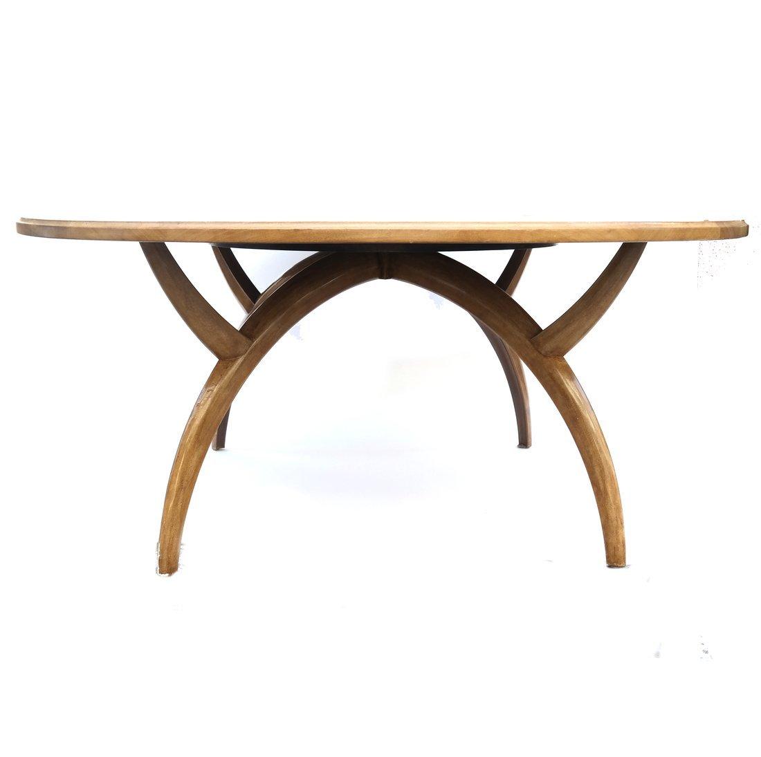 Modern Round Teak Table - 2