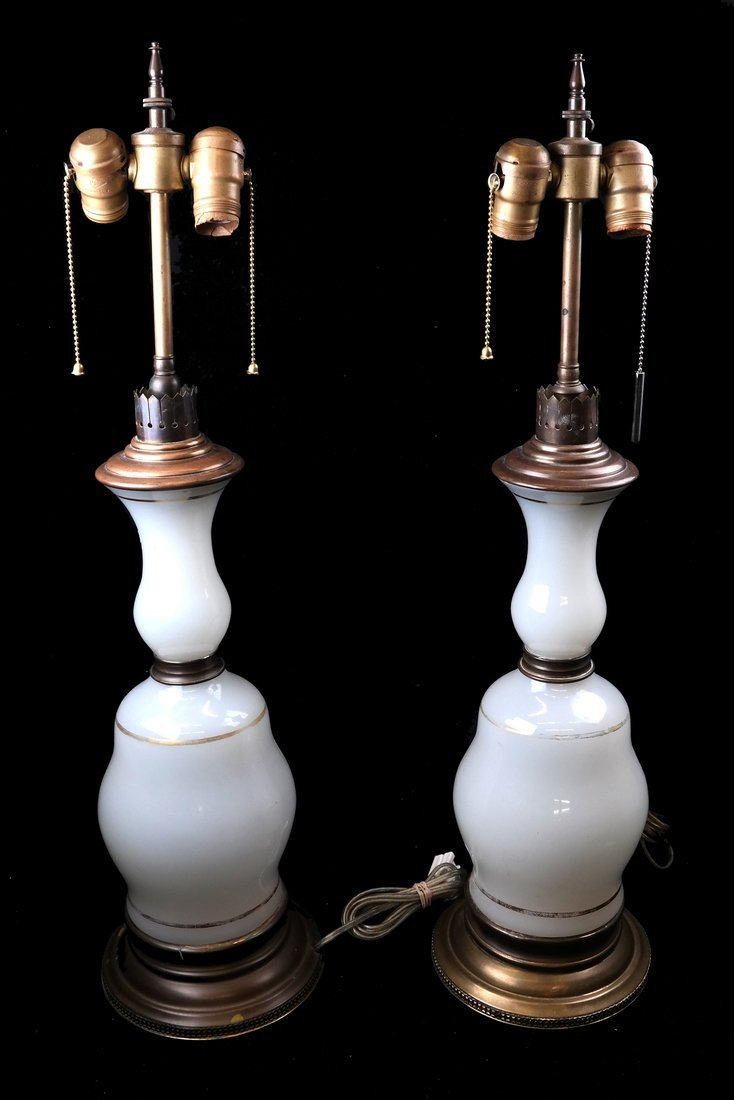 Two Mounted Opaline Glass Table Lamps
