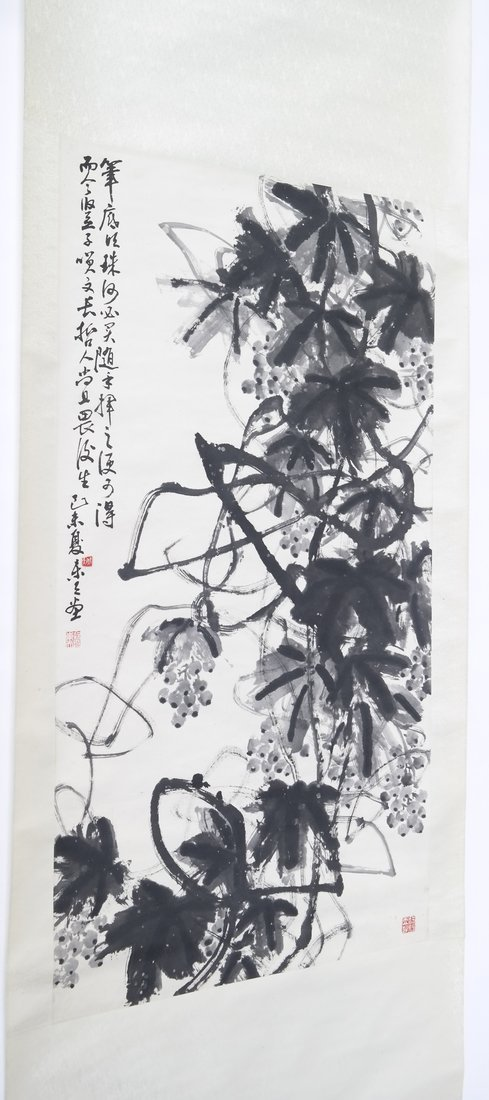 Chinese Scroll Painting with Calligraphy - 2