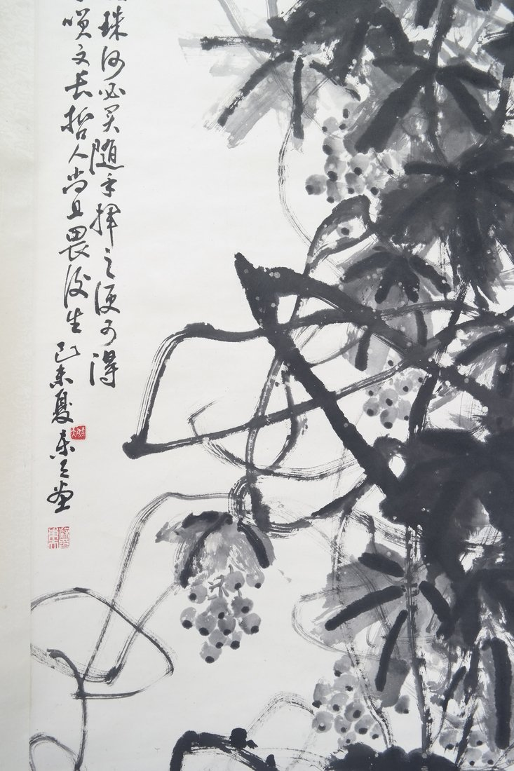 Chinese Scroll Painting with Calligraphy - 3