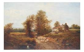 H. Shelborne, Oil on Canvas - Farm Scene