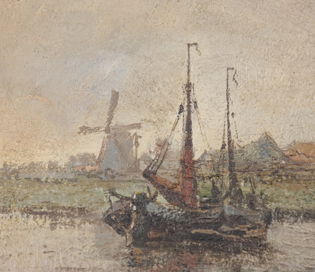 Sailing Ship with Windmill, Oil on Board - 5