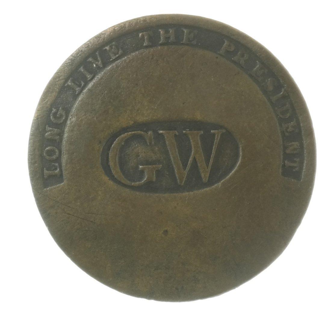 "George Washington 1789 ""GW"" Inaugural Brass Shank"