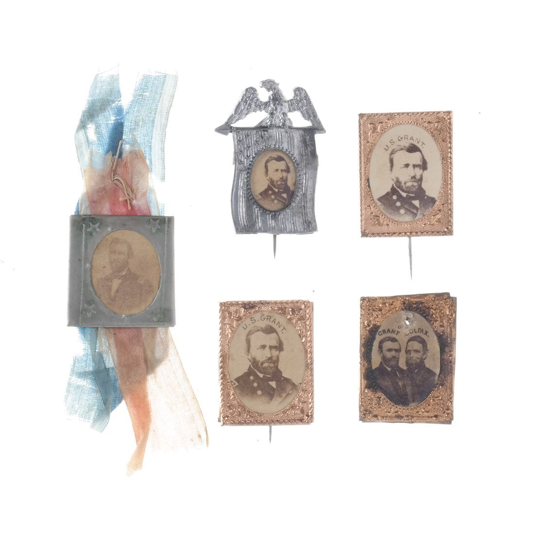 U.S. Grant Five Gem-Size Portrait Stickpins