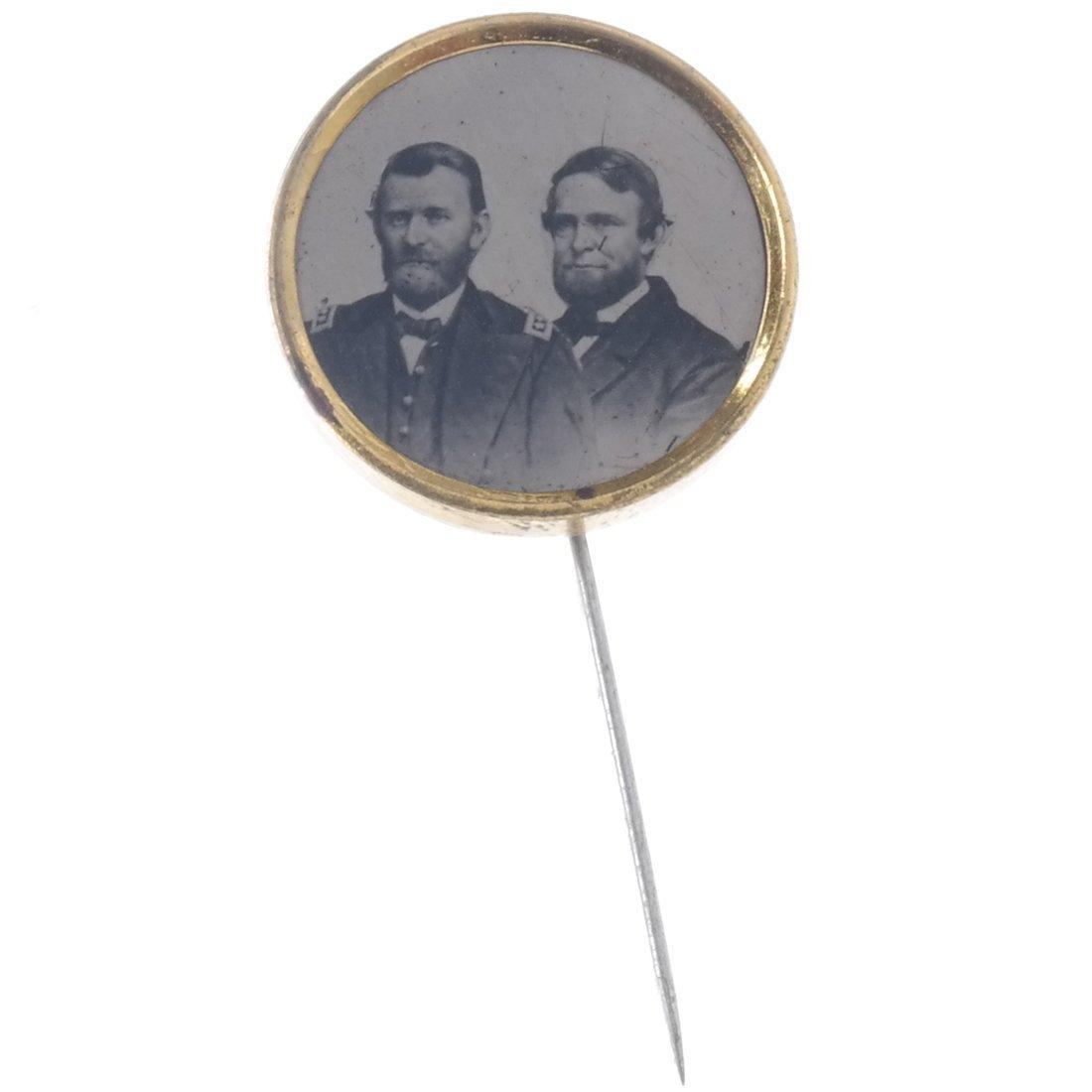 Grant & Colfax 1868 Jugate Ferrotype Stickpin