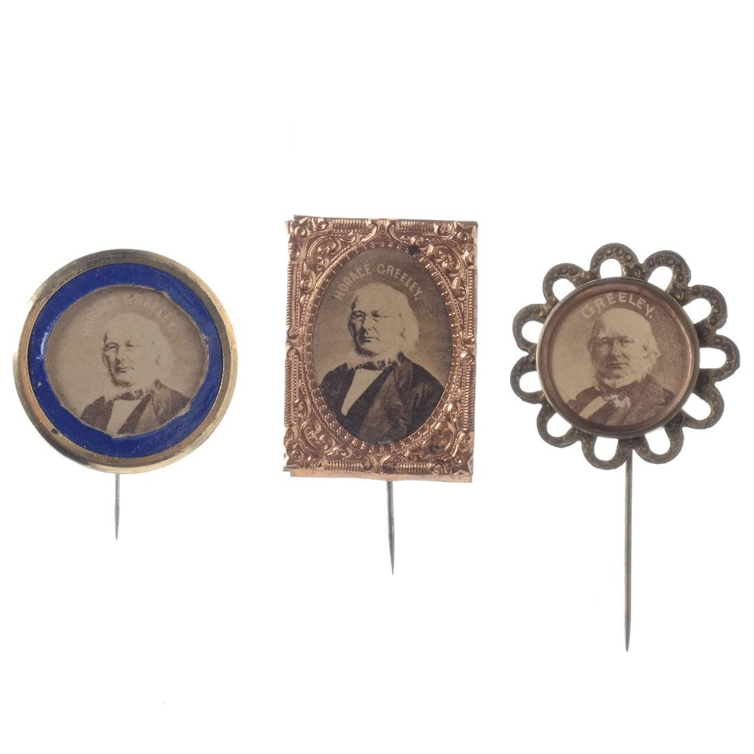 Horace Greeley Three 1872 Albumen Stickpins