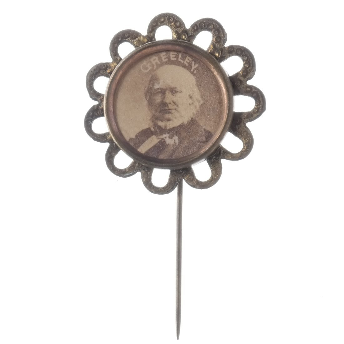 Horace Greeley Three 1872 Albumen Stickpins - 3