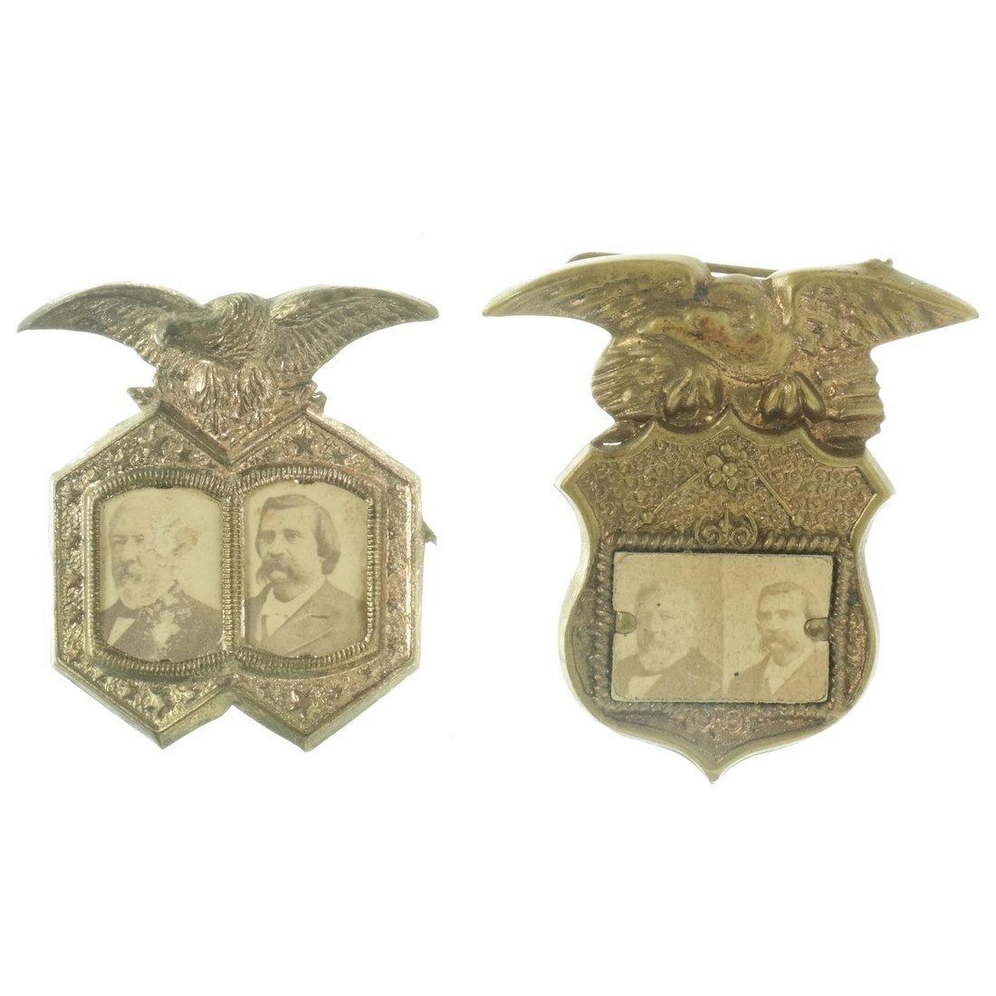 Blaine & Logan Two 1884 Jugate Shell Badges