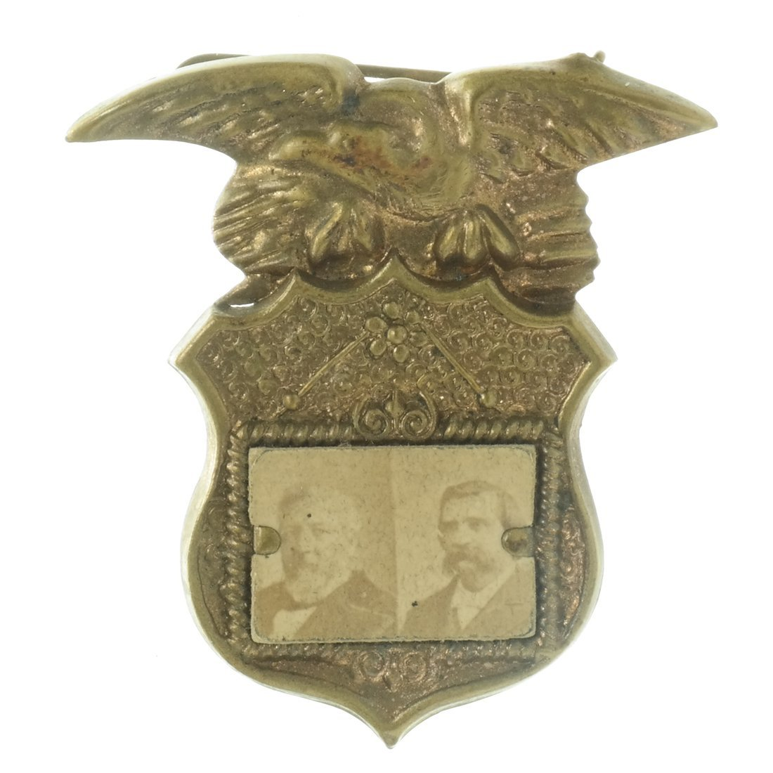 Blaine & Logan Two 1884 Jugate Shell Badges - 3