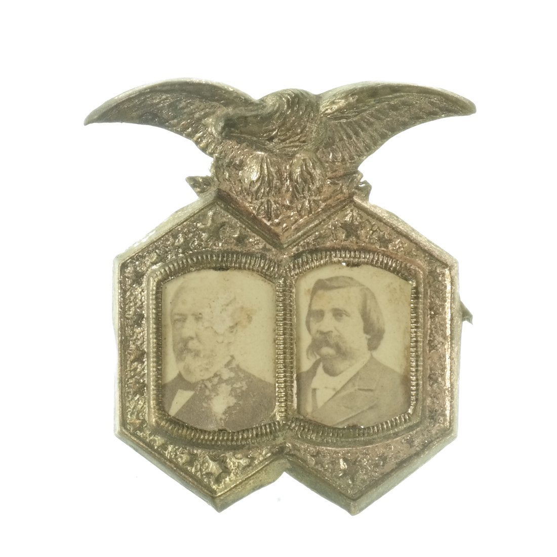 Blaine & Logan Two 1884 Jugate Shell Badges - 4