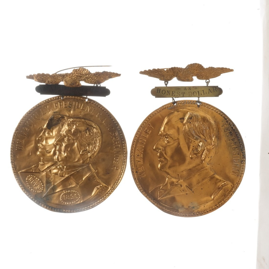 McKinley & Hobart - 1896 Two Large Brass Shell Badges