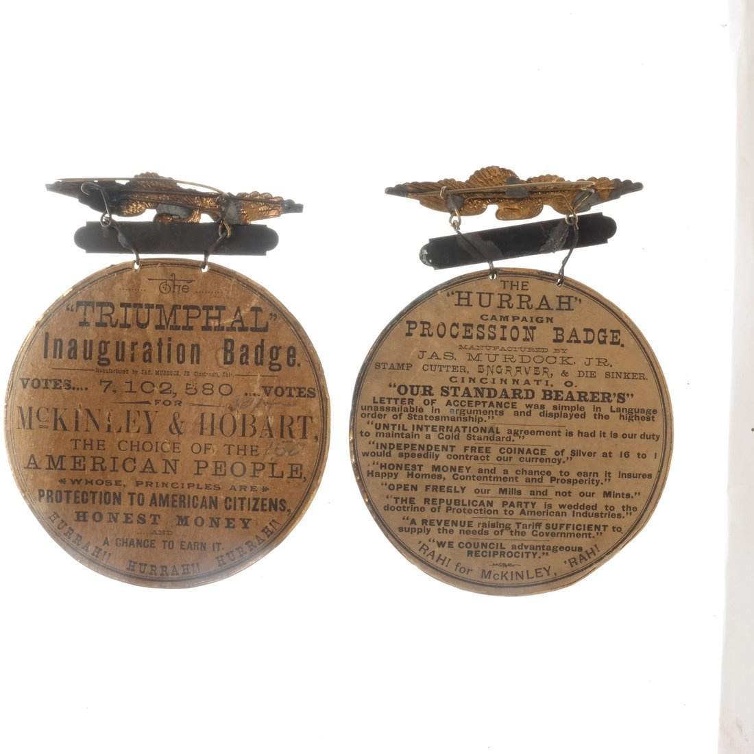 McKinley & Hobart - 1896 Two Large Brass Shell Badges - 2