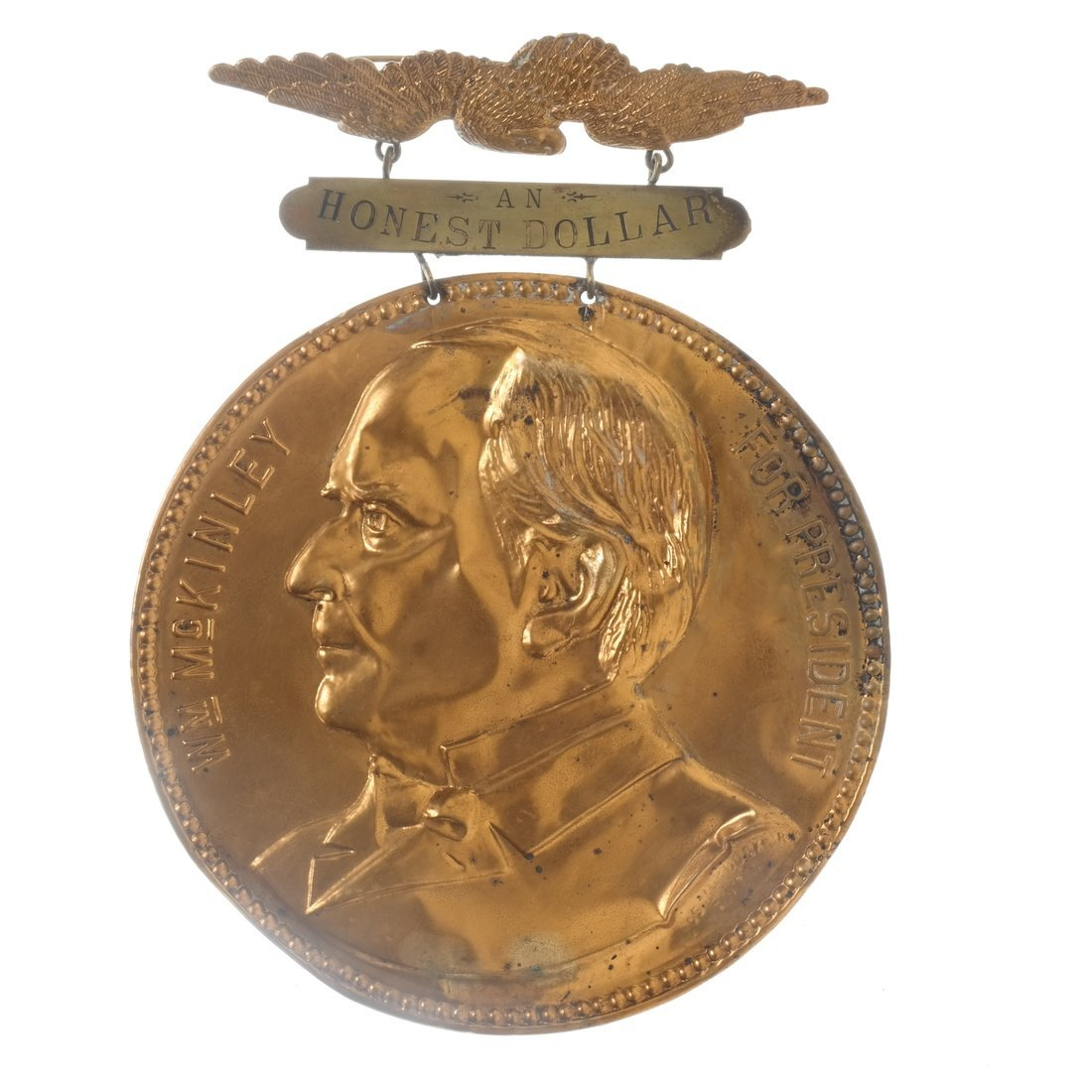 McKinley & Hobart - 1896 Two Large Brass Shell Badges - 3