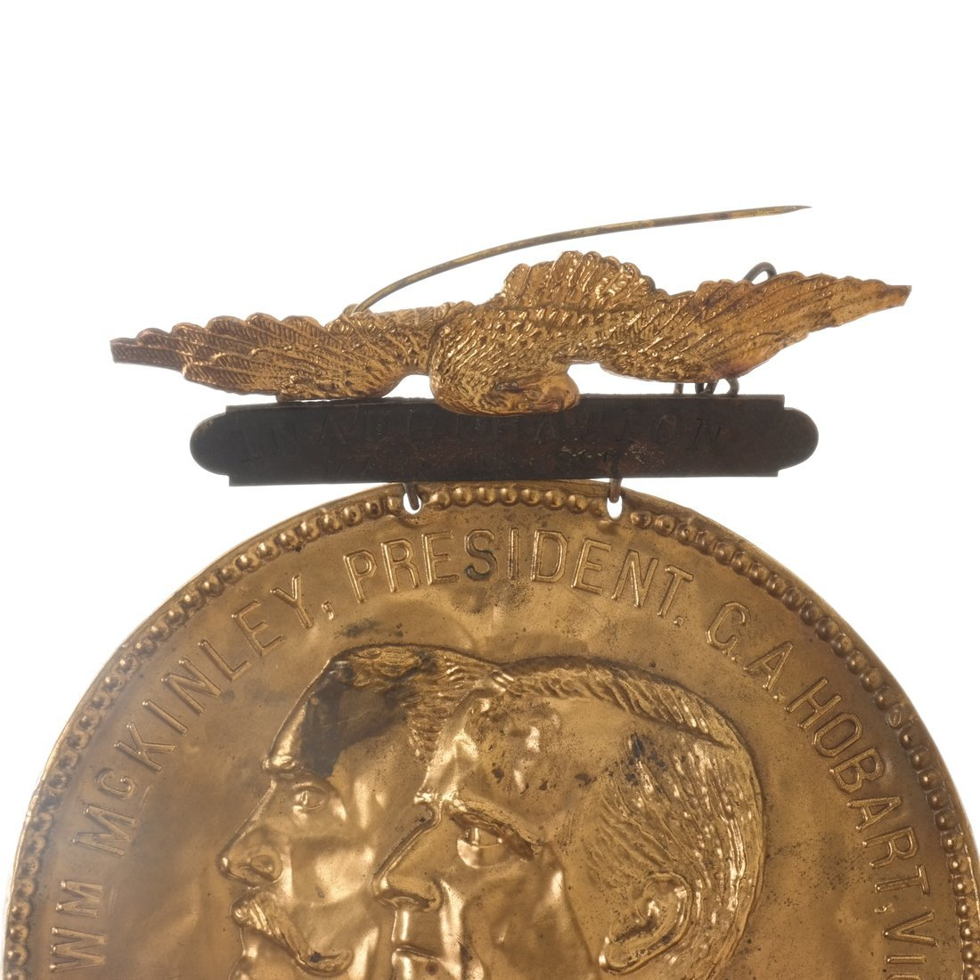 McKinley & Hobart - 1896 Two Large Brass Shell Badges - 6