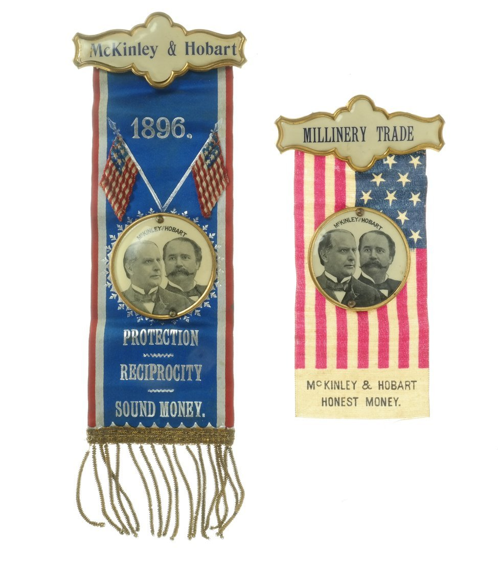 McKinley & Hobart  - Two 1896 Jugate Badges & Ribbons