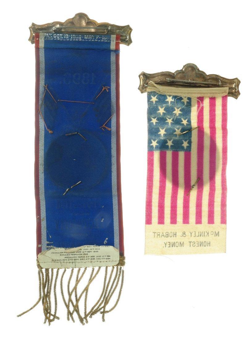 McKinley & Hobart  - Two 1896 Jugate Badges & Ribbons - 2