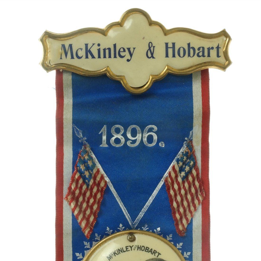 McKinley & Hobart  - Two 1896 Jugate Badges & Ribbons - 5
