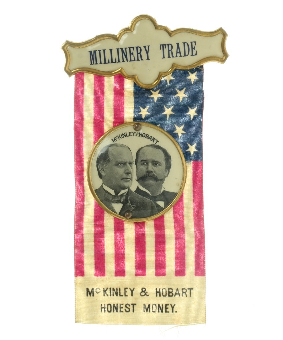 McKinley & Hobart  - Two 1896 Jugate Badges & Ribbons - 6