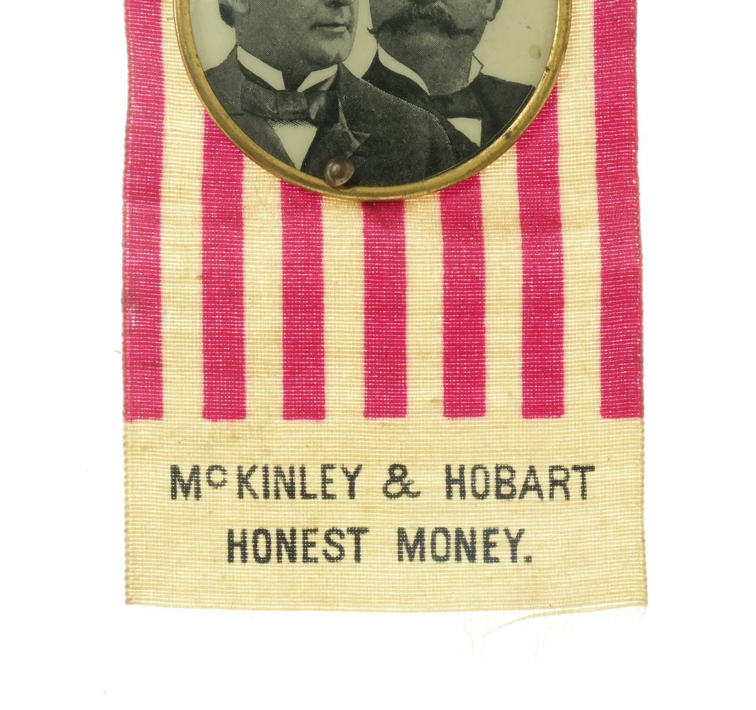 McKinley & Hobart  - Two 1896 Jugate Badges & Ribbons - 8