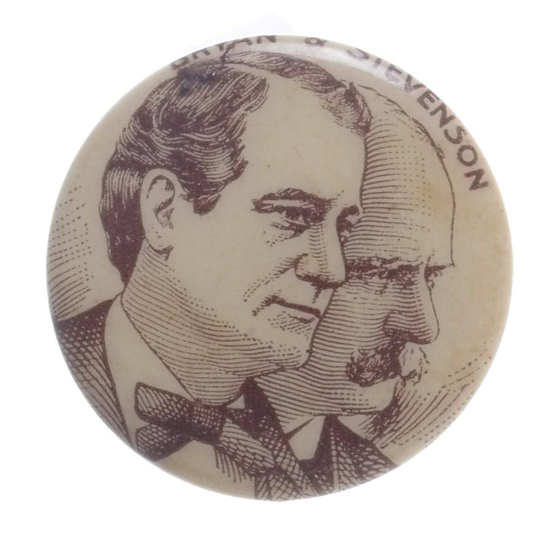 W.J. Bryan & A. Stevenson - 1900 Celluloid Stickpin