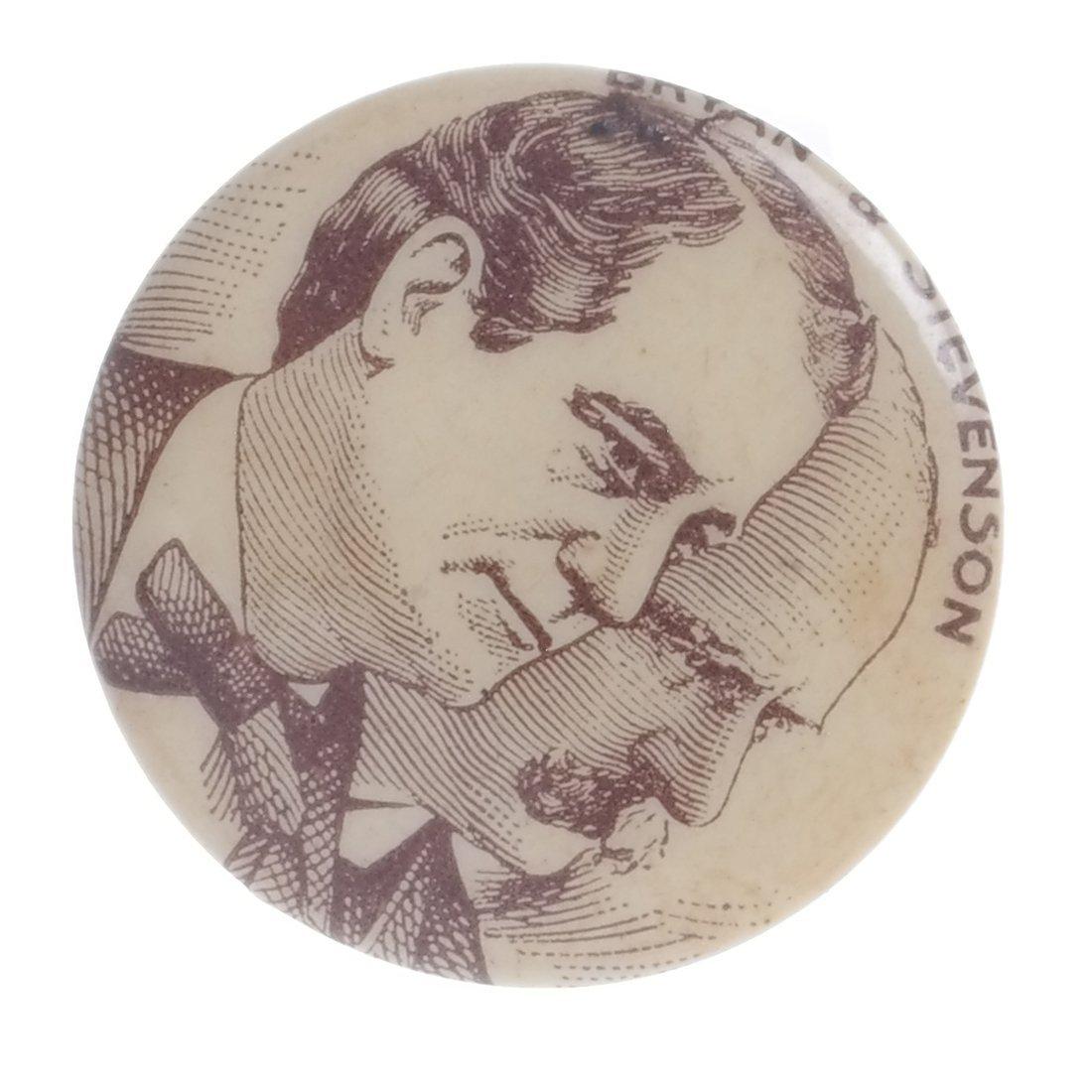 W.J. Bryan & A. Stevenson - 1900 Celluloid Stickpin - 3