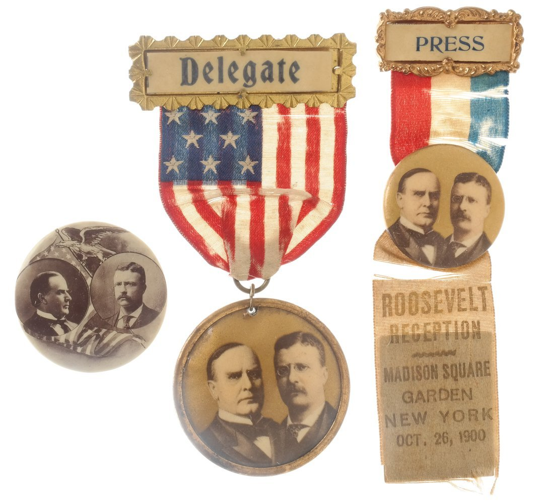Wm. Mckinley & T. Roosevelt - Three 1900 items
