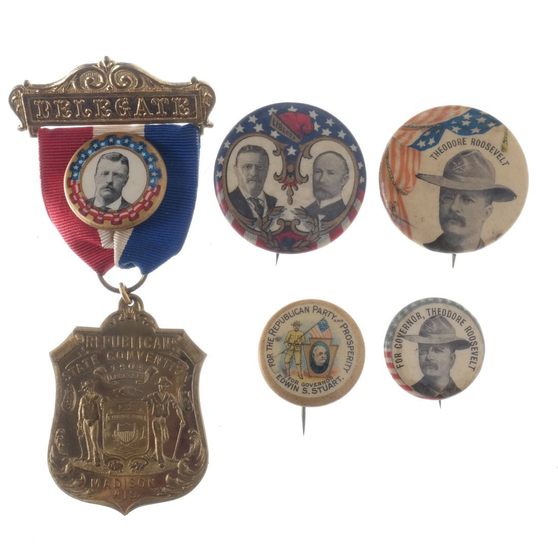 T. Roosevelt - Five Buttons & Badges