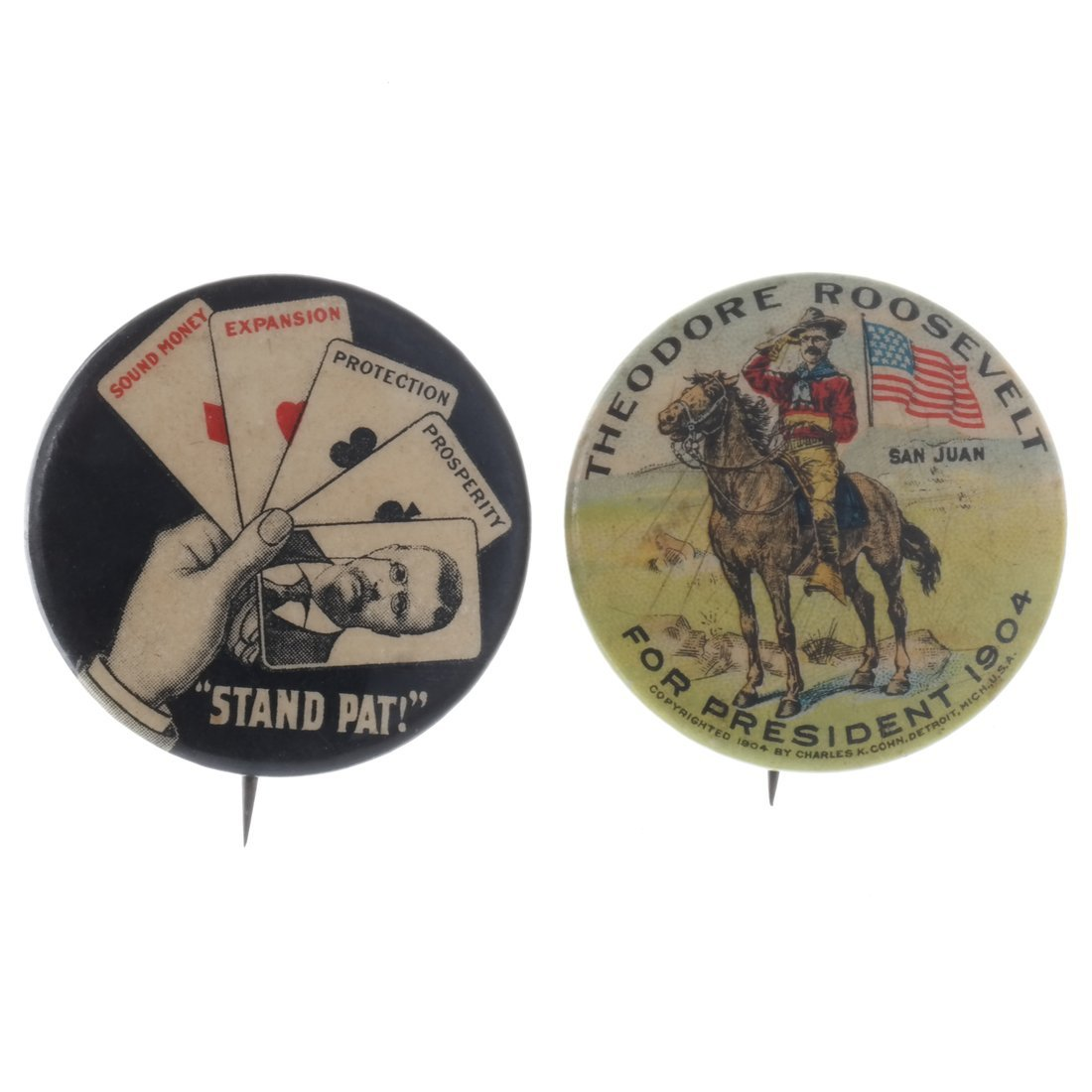 Theodore Roosevelt - Two 1904 Illustrated Pinback