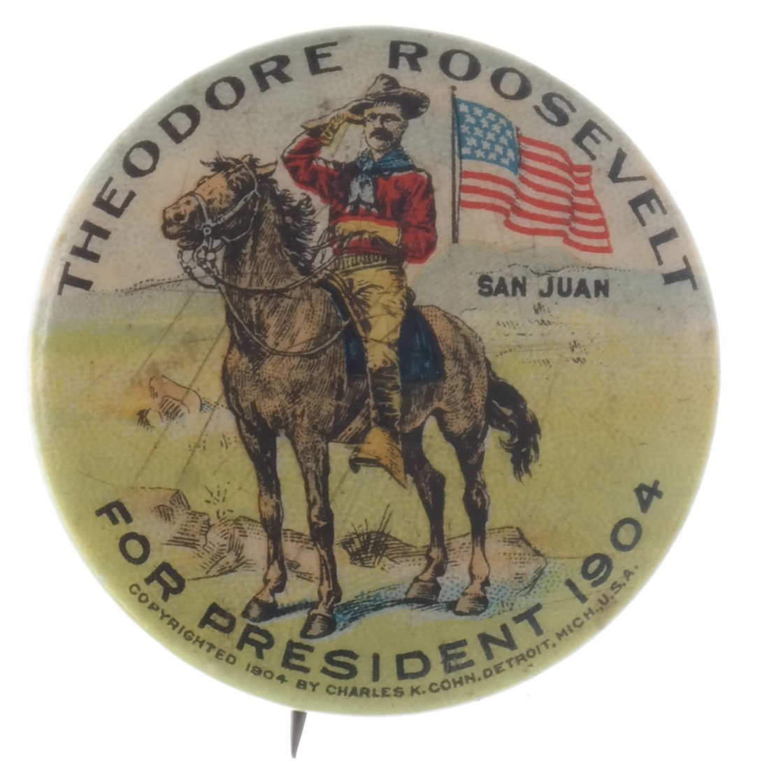 Theodore Roosevelt - Two 1904 Illustrated Pinback - 3