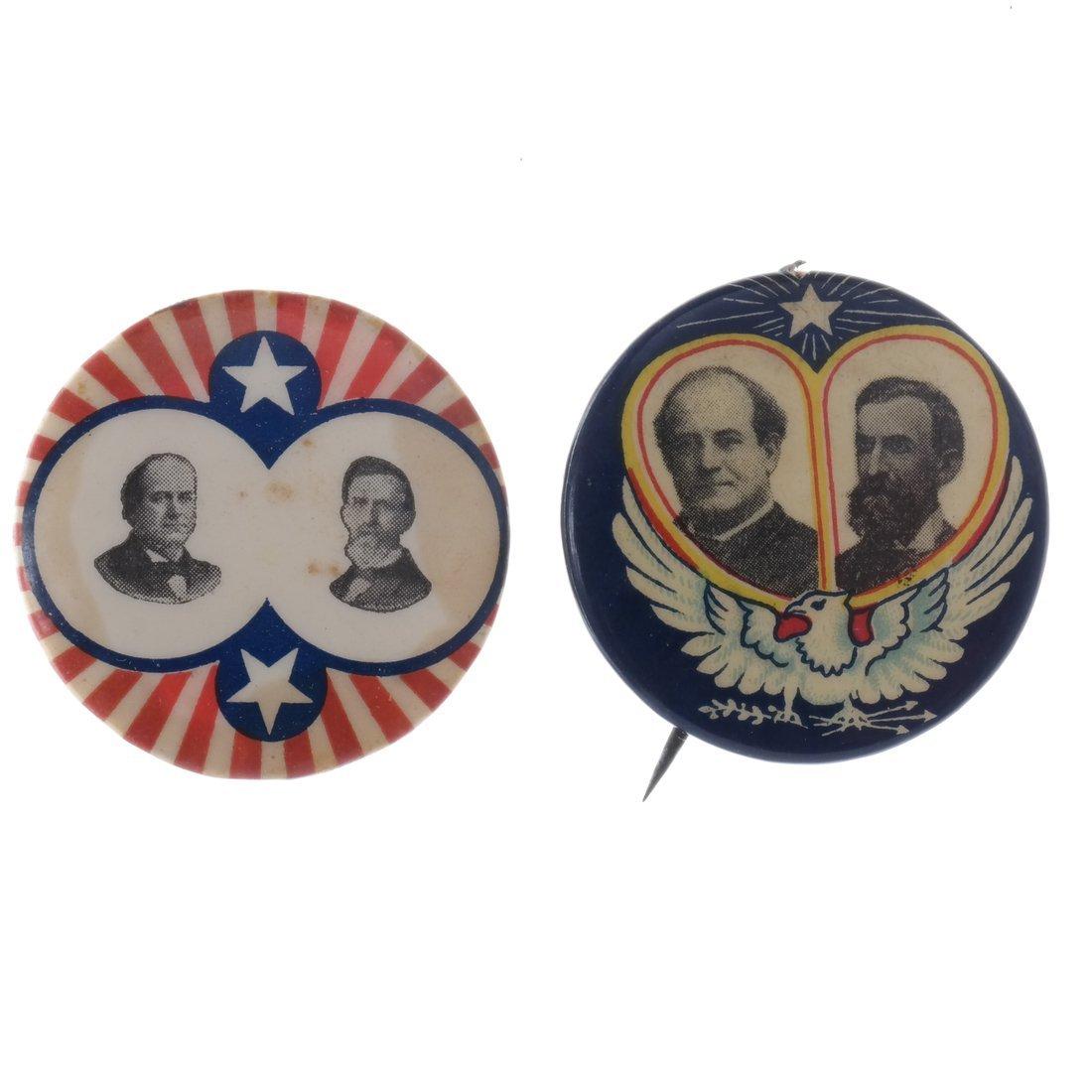 Wm. J. Bryan & J.W. Kern - Two 1908 Jugates Buttons