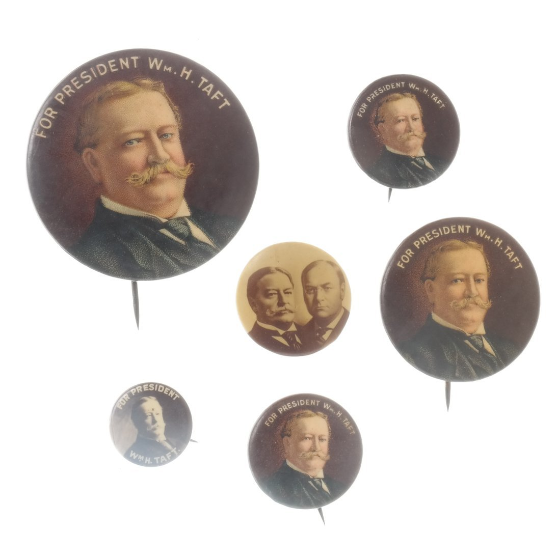 William H. Taft - Six Portrait Pinbacks