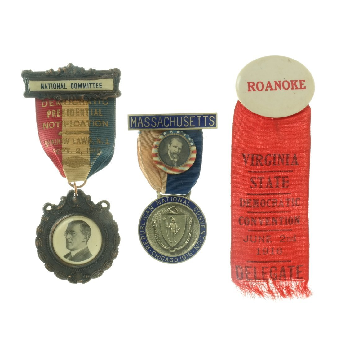 Three 1916 Convention Badges