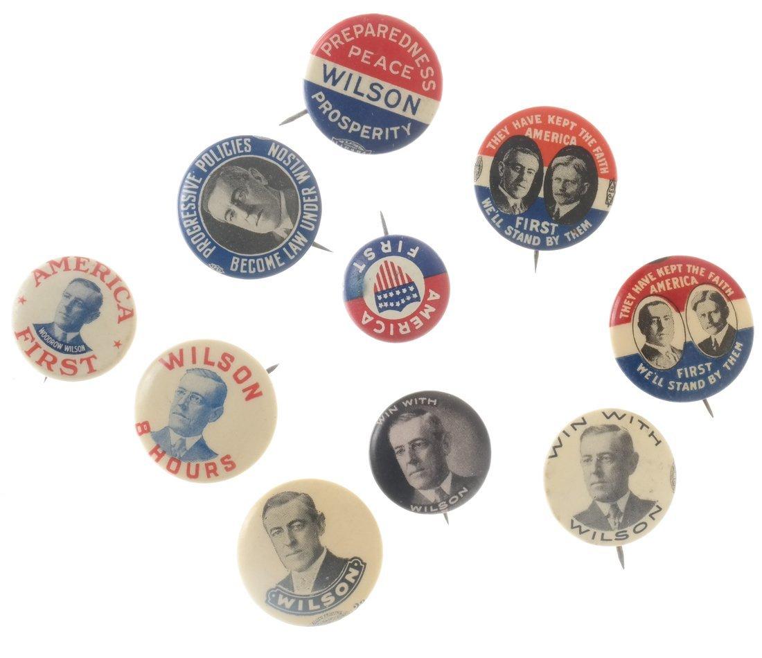 Woodrow Wilson - Ten 1912 &1916 Celluloid Pinbacks