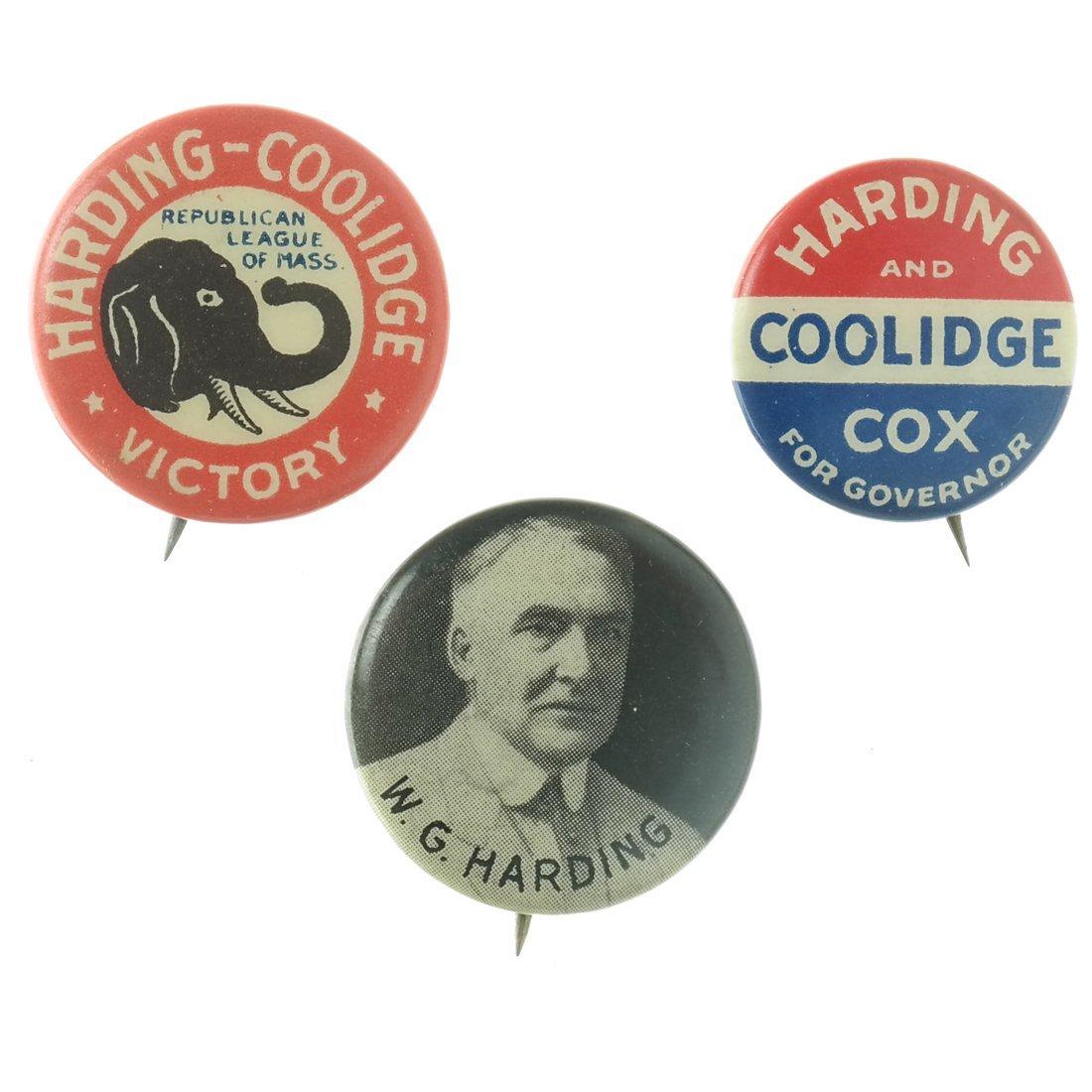 Harding & Coolidge - Three 1920 Celluloids