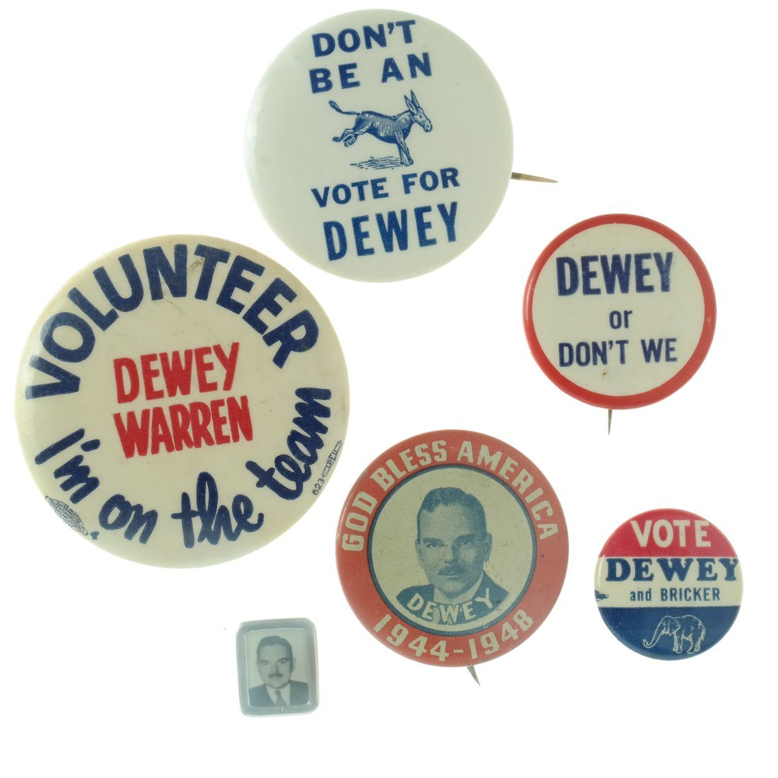 Dewey - Five Buttons & One Pinback