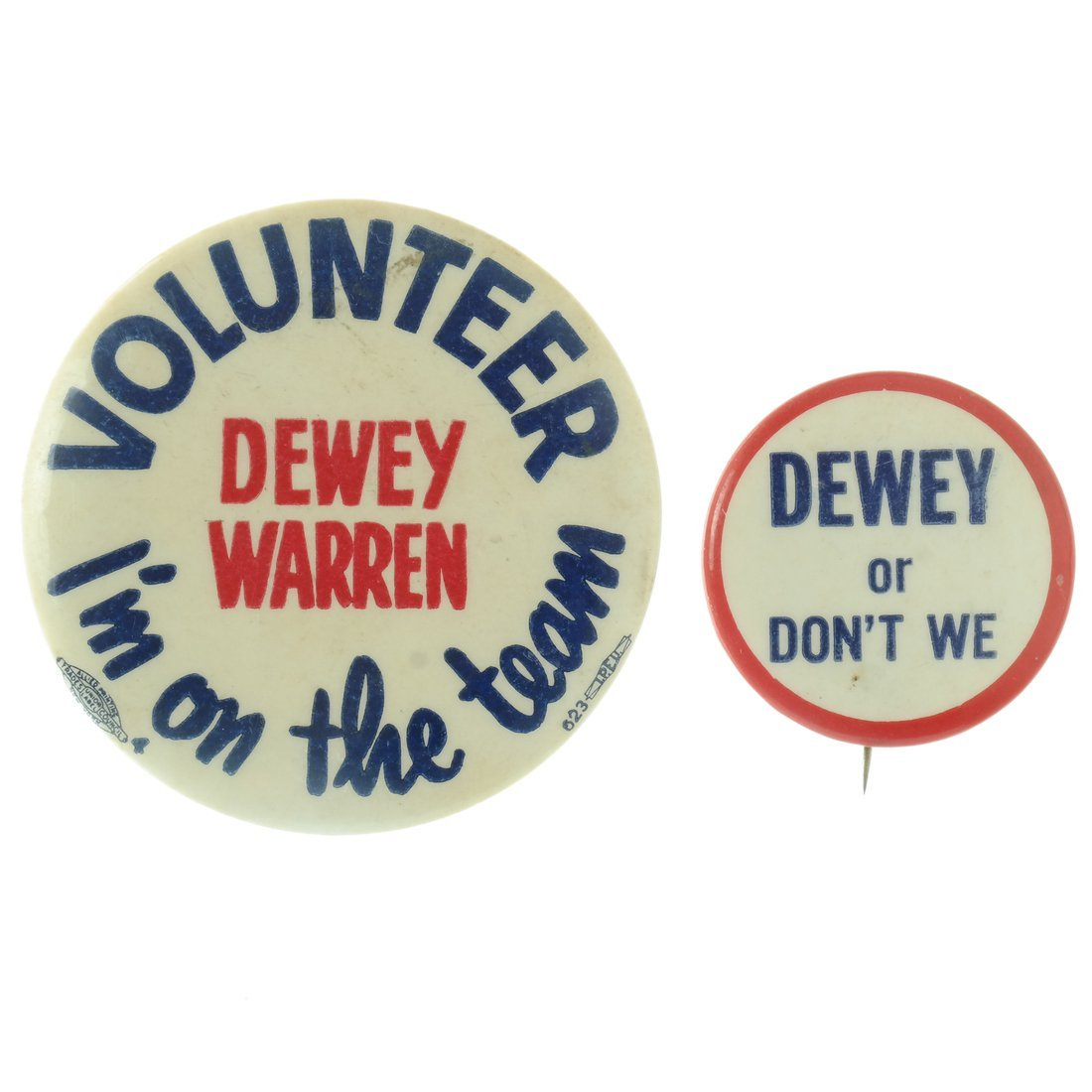 Dewey - Five Buttons & One Pinback - 5