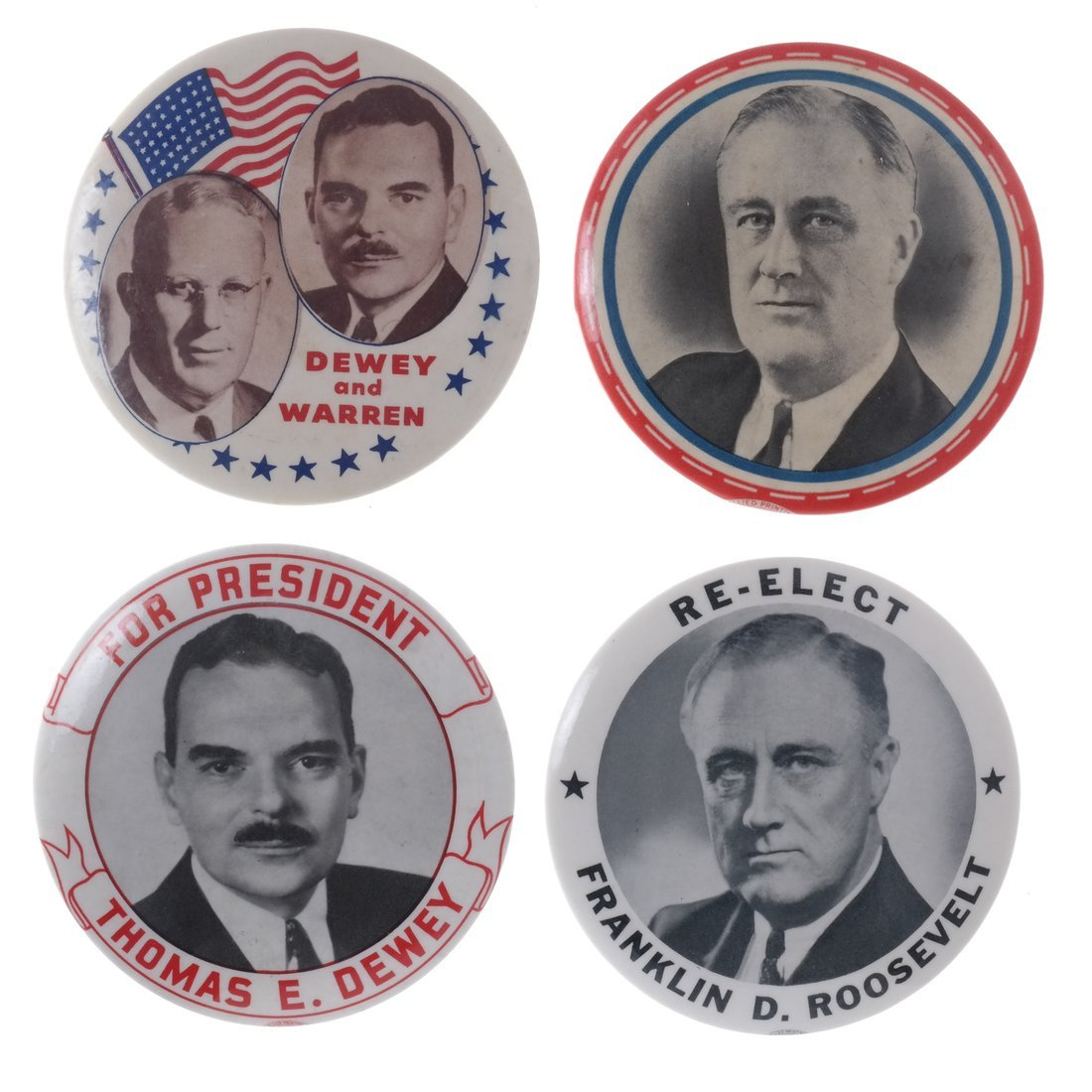 FDR & Dewey - Four 1944 Buttons